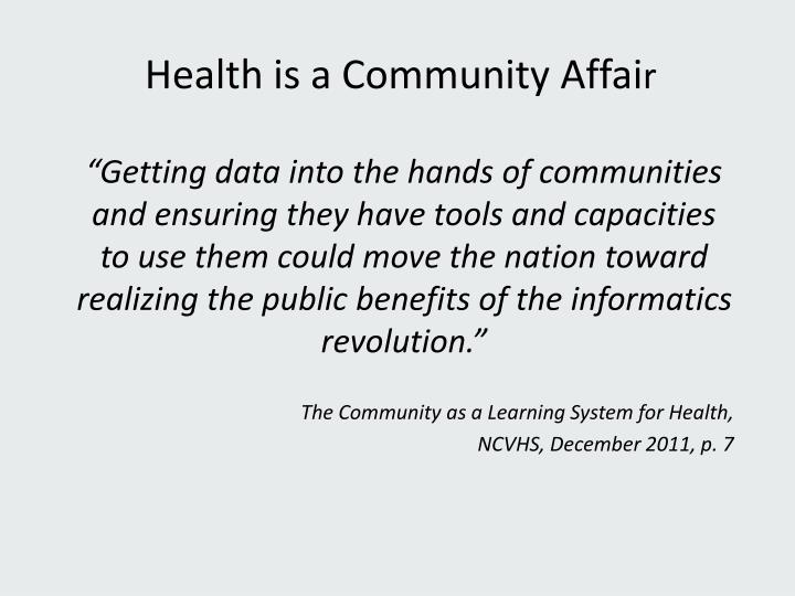 Health is a Community Affai