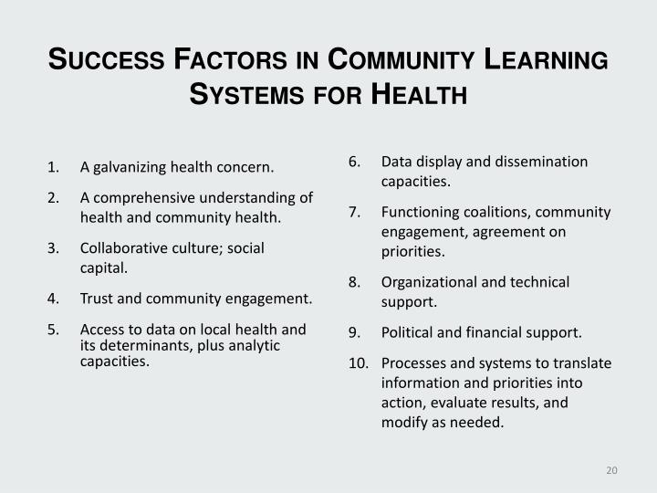 Success Factors in Community Learning Systems for Health