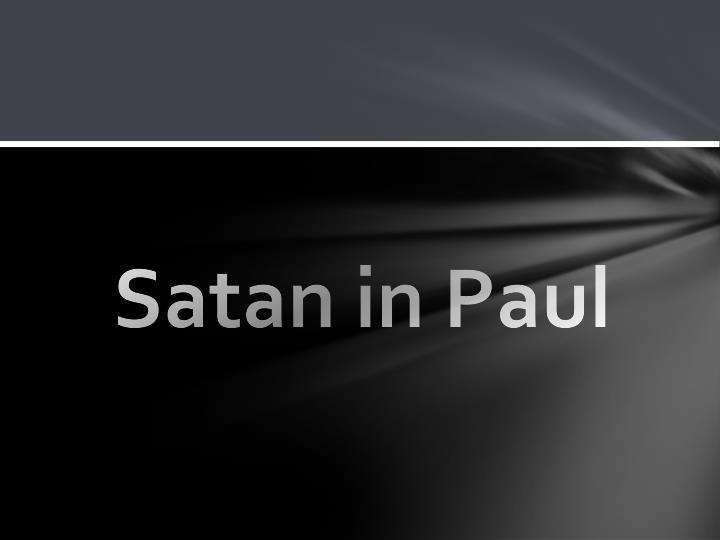 Satan in Paul