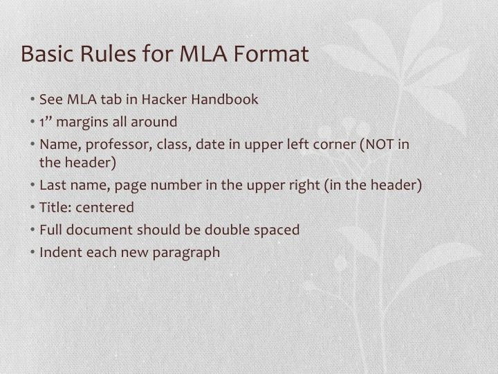 Basic Rules for MLA Format