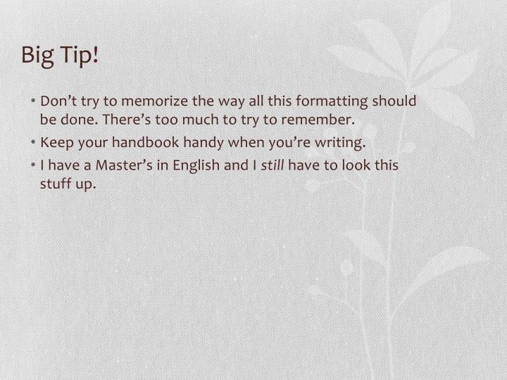 Big Tip!