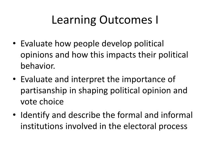 Learning outcomes i