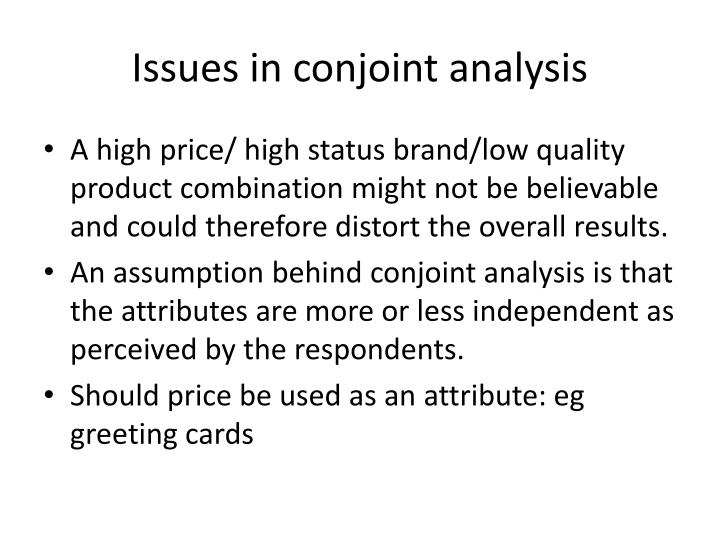Issues in conjoint analysis