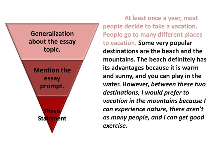 At least once a year, most people decide to take a vacation. People go to many different places to vacation.
