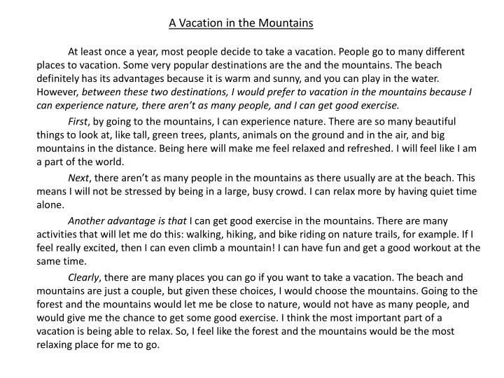 A Vacation in the Mountains