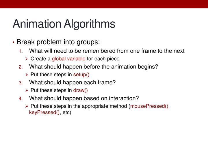 Animation Algorithms