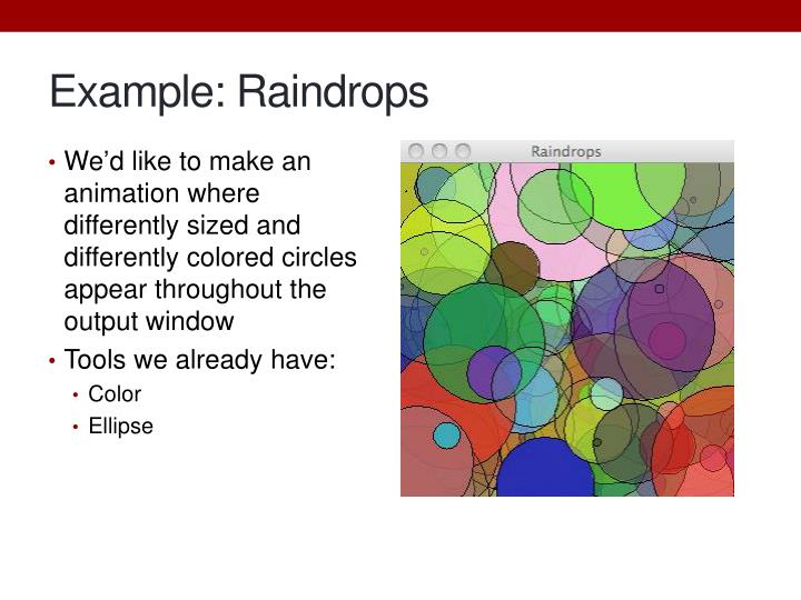 Example: Raindrops