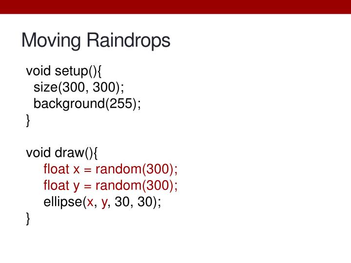 Moving Raindrops