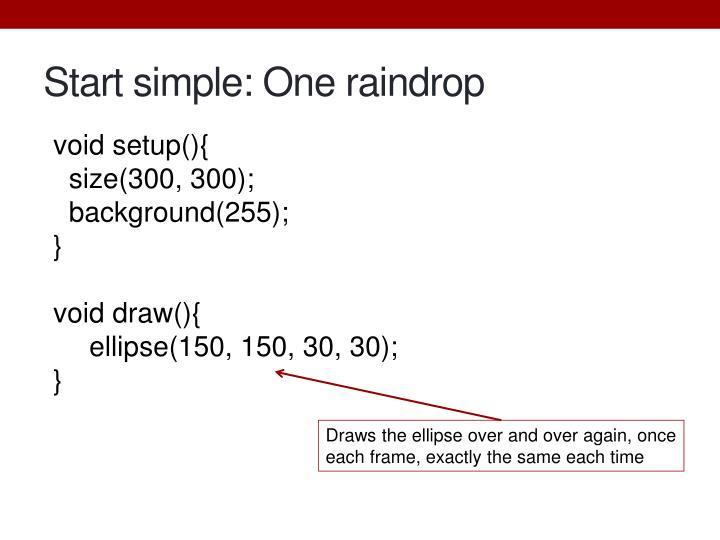 Start simple: One raindrop