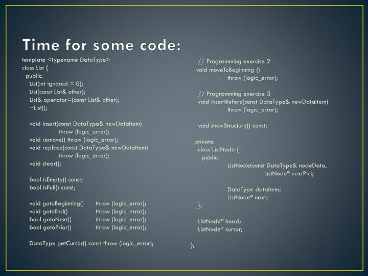 Time for some code: