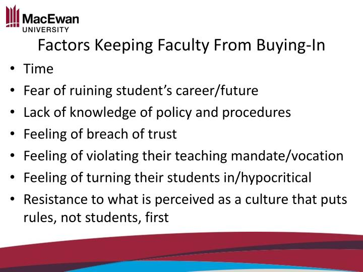 Factors Keeping Faculty From
