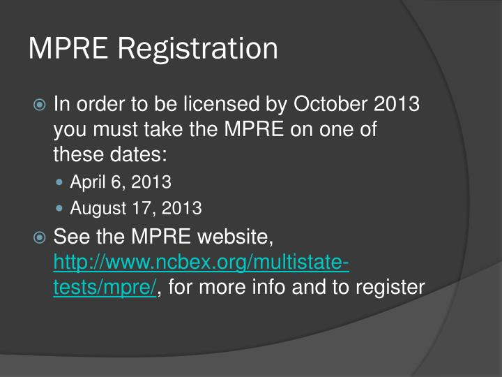 Mpre registration