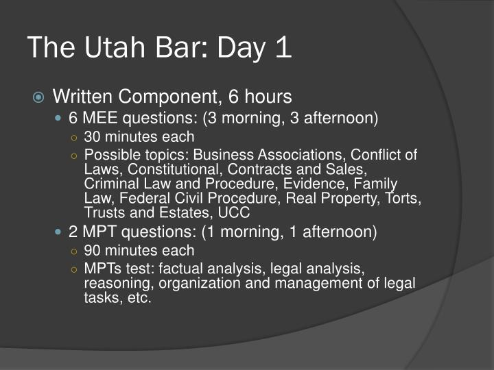 The Utah Bar: Day 1