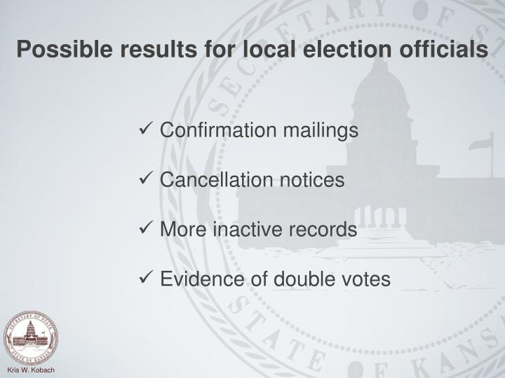 Possible results for local election officials