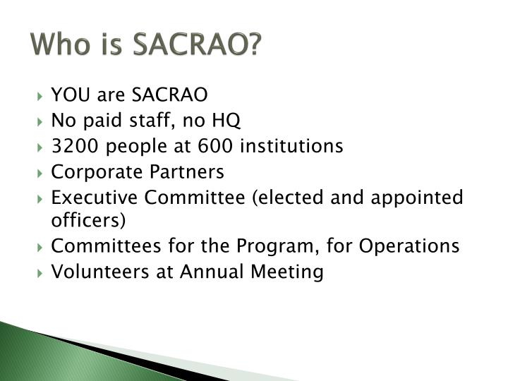 Who is SACRAO?