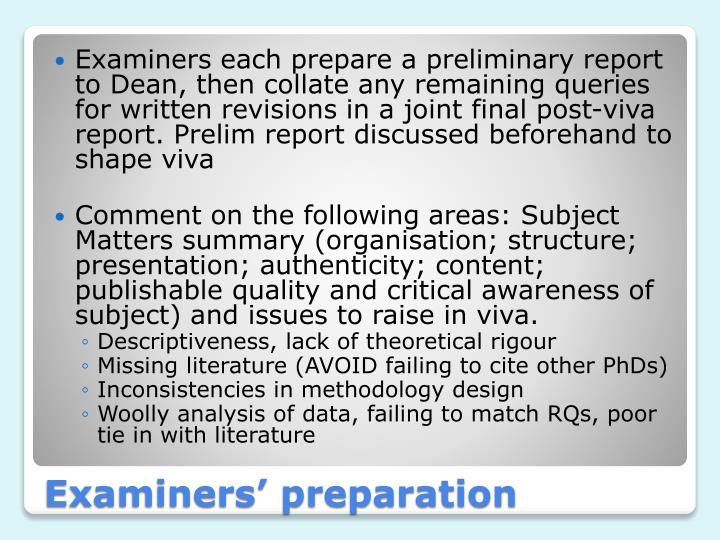 Examiners