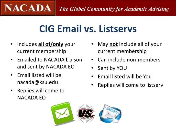 CIG Email vs. Listservs
