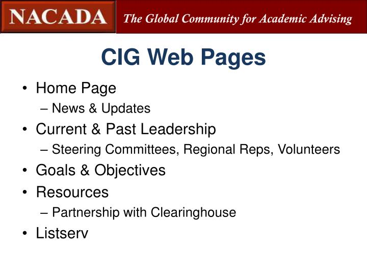 CIG Web Pages