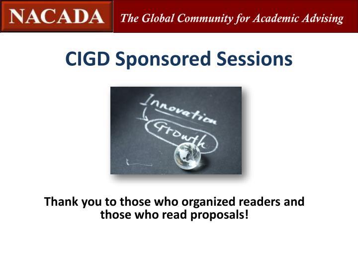 CIGD Sponsored Sessions