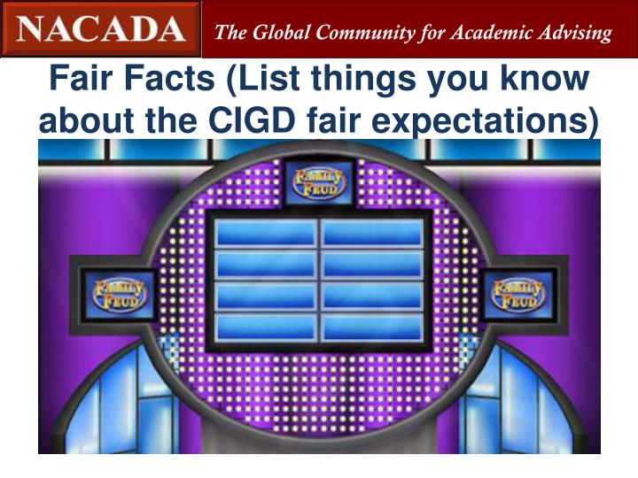 Fair Facts (List things you know about the CIGD fair expectations)