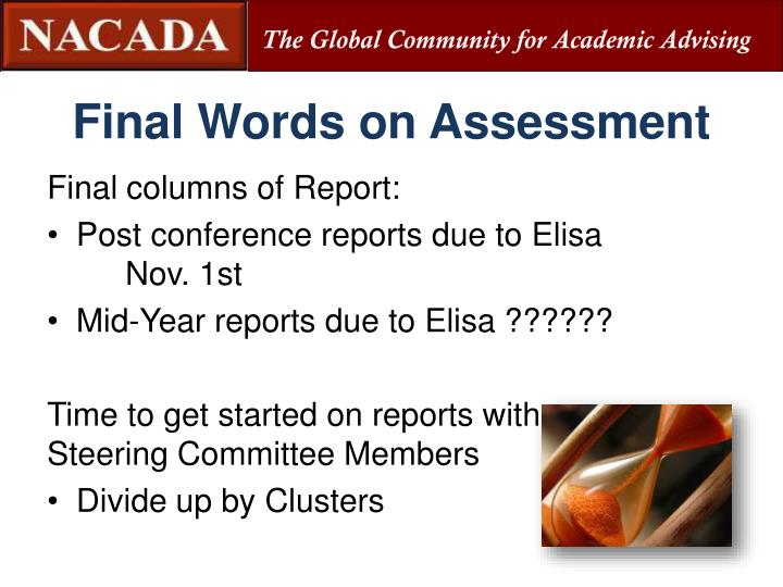 Final Words on Assessment