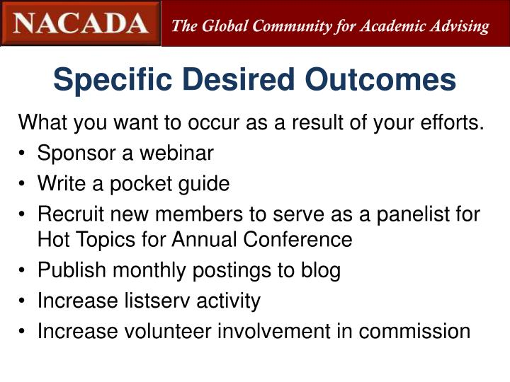 Specific Desired Outcomes