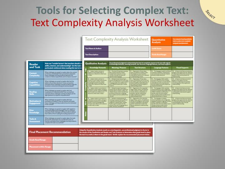 Tools for Selecting Complex Text: