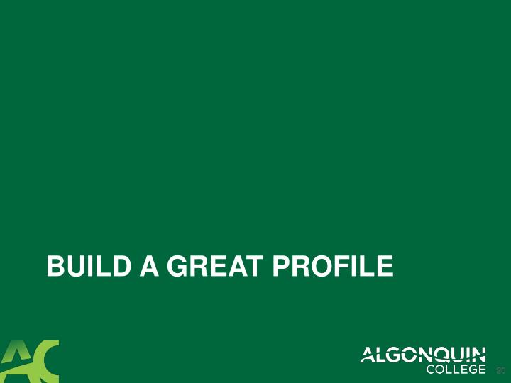 Build a great profile