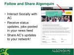follow and share algonquin