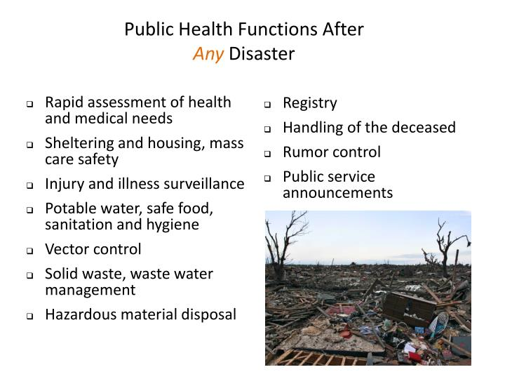 Public Health Functions After