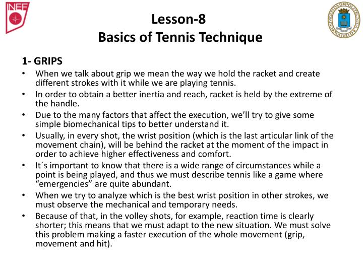Lesson 8 basics of tennis technique