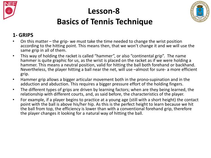 Lesson 8 basics of tennis technique1