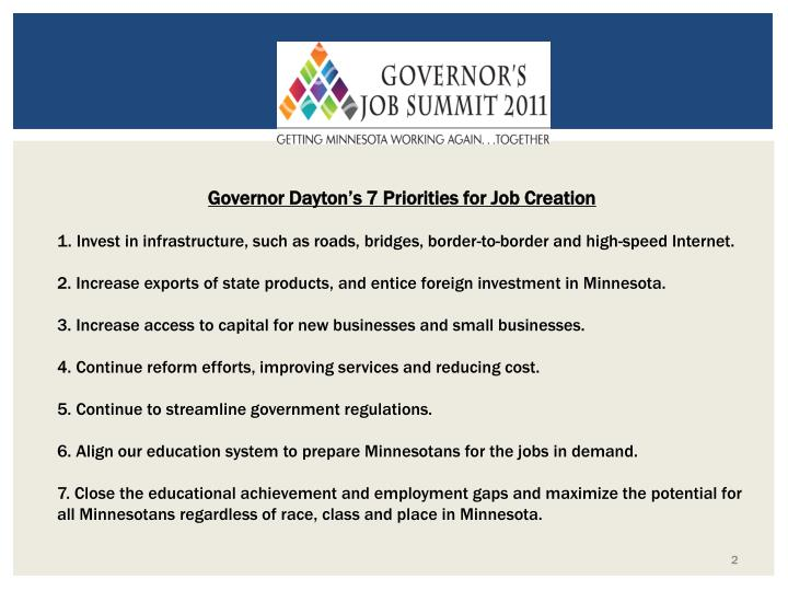 Governor Dayton's 7 Priorities for Job Creation