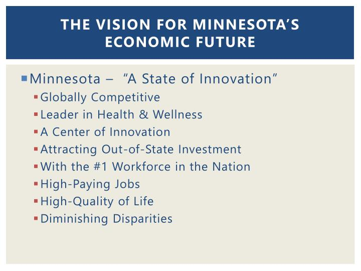 The Vision for Minnesota's Economic future