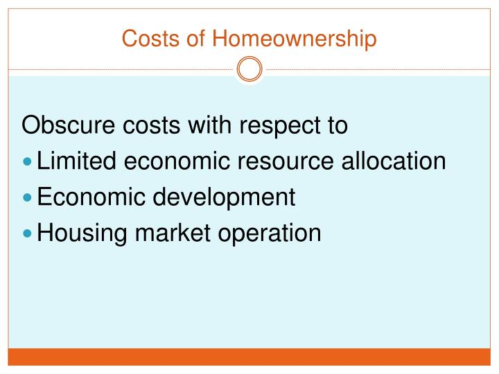 Costs of Homeownership