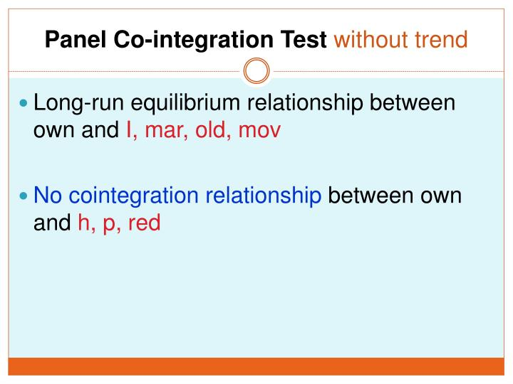 Panel Co-integration Test