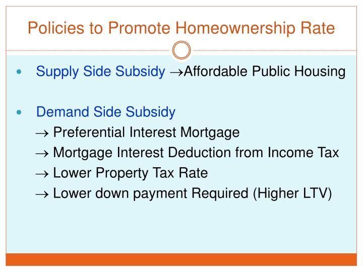 Policies to Promote Homeownership Rate