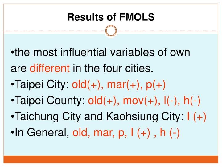 Results of FMOLS