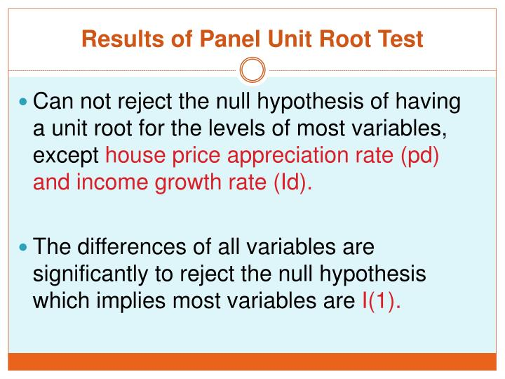 Results of Panel Unit Root Test