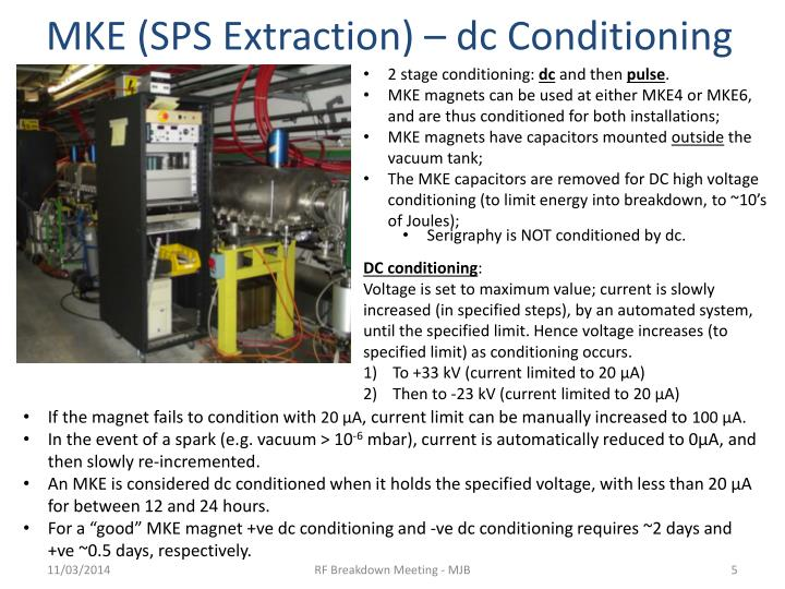 MKE (SPS Extraction) – dc Conditioning