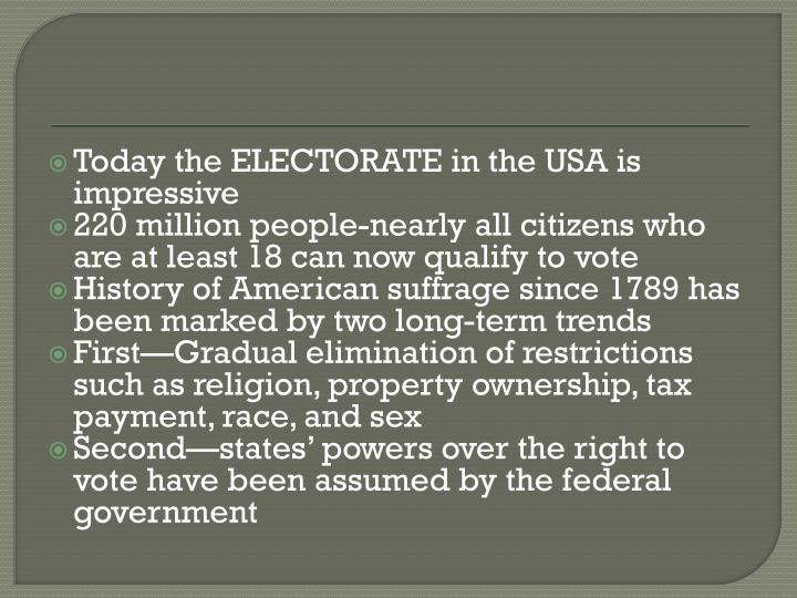 Today the ELECTORATE in the USA is impressive