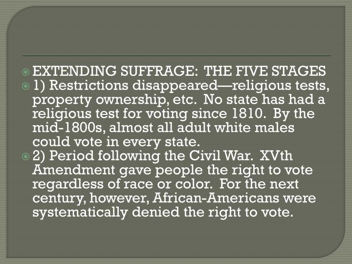 EXTENDING SUFFRAGE:  THE FIVE STAGES