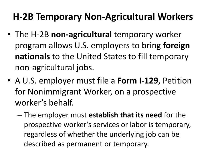 H 2b temporary non agricultural workers