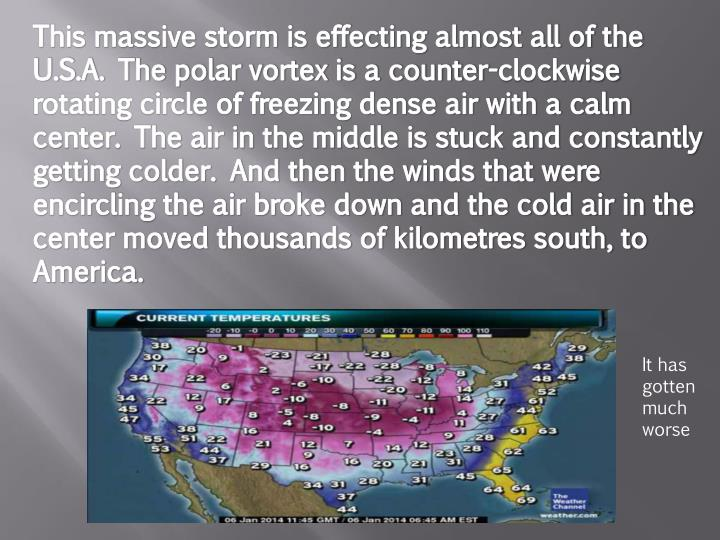 This massive storm is effecting almost all of the U.S.A. The polar vortex is a counter-clockwise rot...