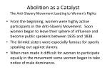 abolition as a catalyst the anti slavery movement leading to women s rights