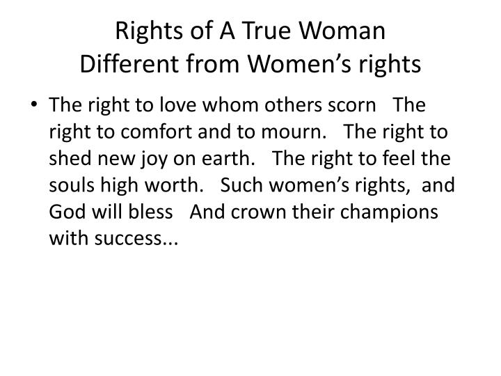 Rights of A True Woman