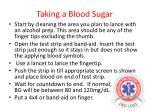 taking a blood sugar