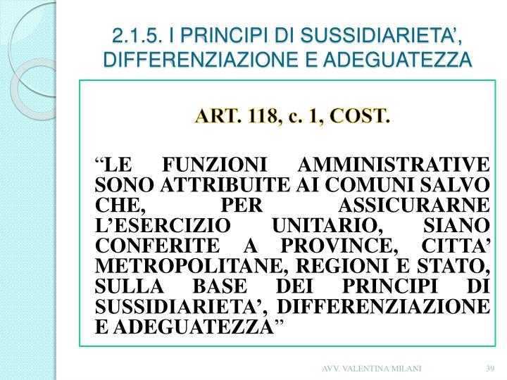 2.1.5. I PRINCIPI