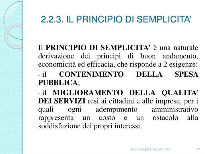 2.2.3. IL PRINCIPIO