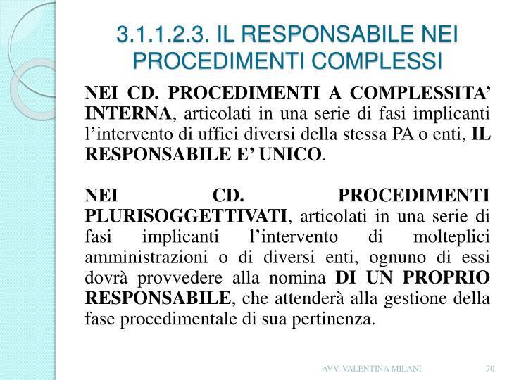 3.1.1.2.3. IL RESPONSABILE NEI PROCEDIMENTI COMPLESSI